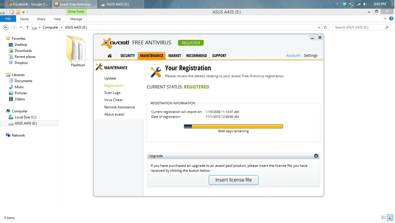 Download here: Avast! 8 Free Antivirus