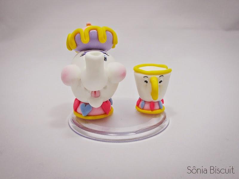 Bela e a Fera Topo de Bolo Biscuit Potts Lumiere Horloge