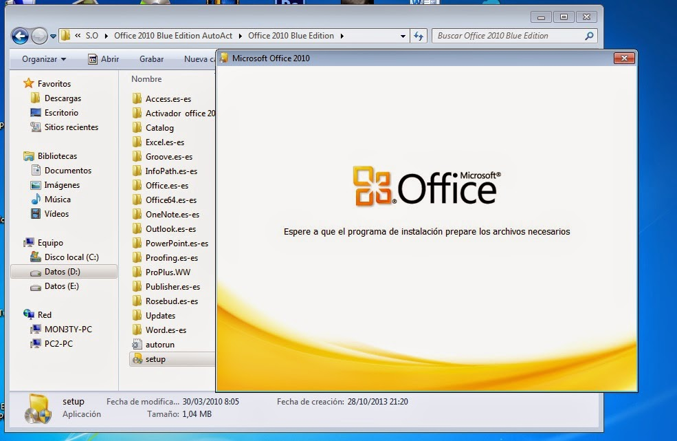 Microsoft office blue edition