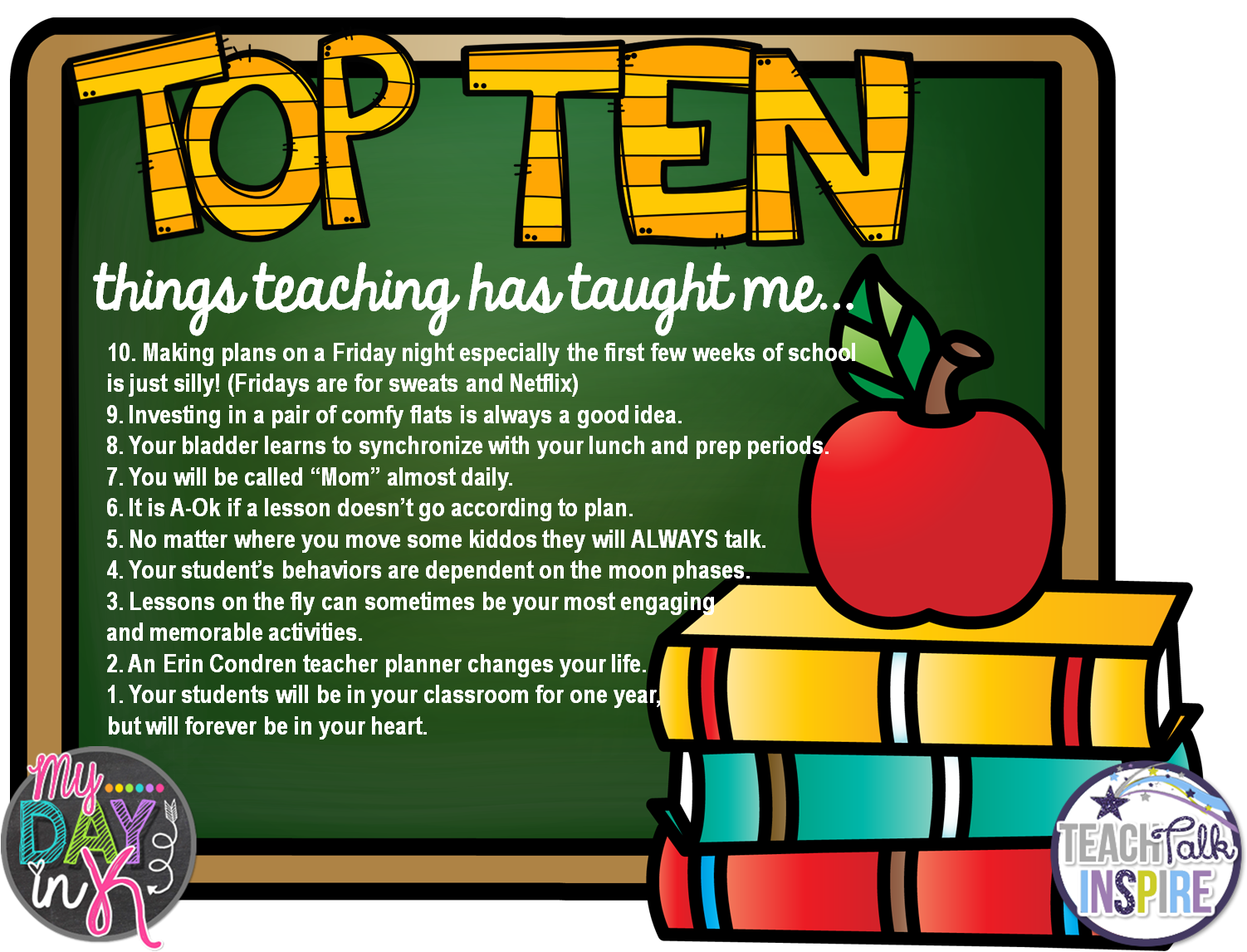 Tell all Tuesday: Top Ten Things Teaching has Taught me! - MyDayinK