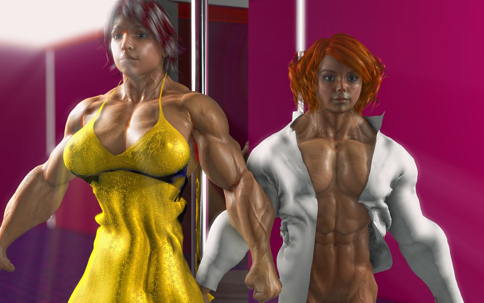 3d muscle girls adult picture