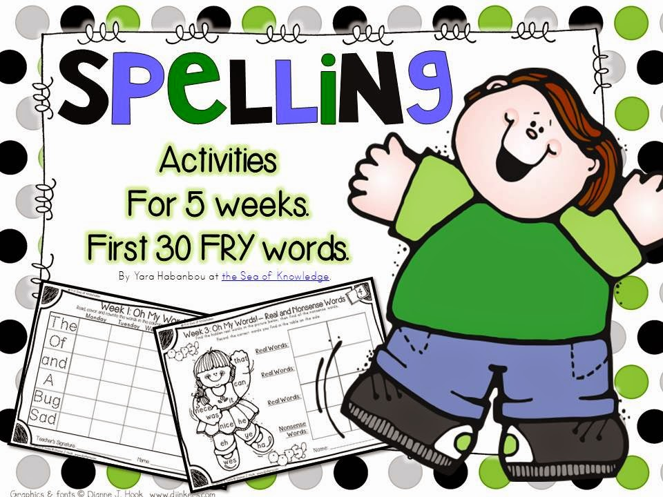 http://www.teacherspayteachers.com/Product/Spelling-Writing-Activities-5-Weeks-Pack-1-Frys-first-30-sight-words-871719