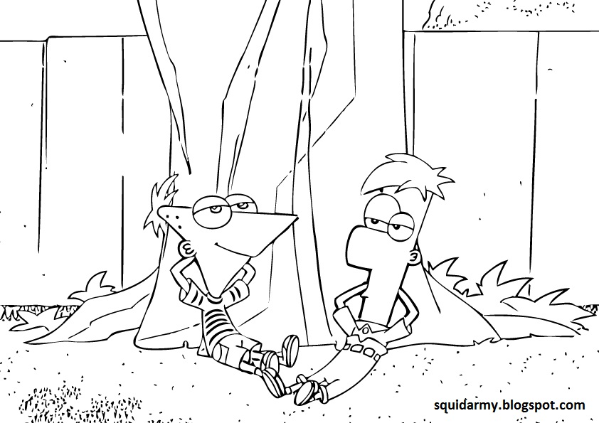 phineas and ferb coloring pages backyard