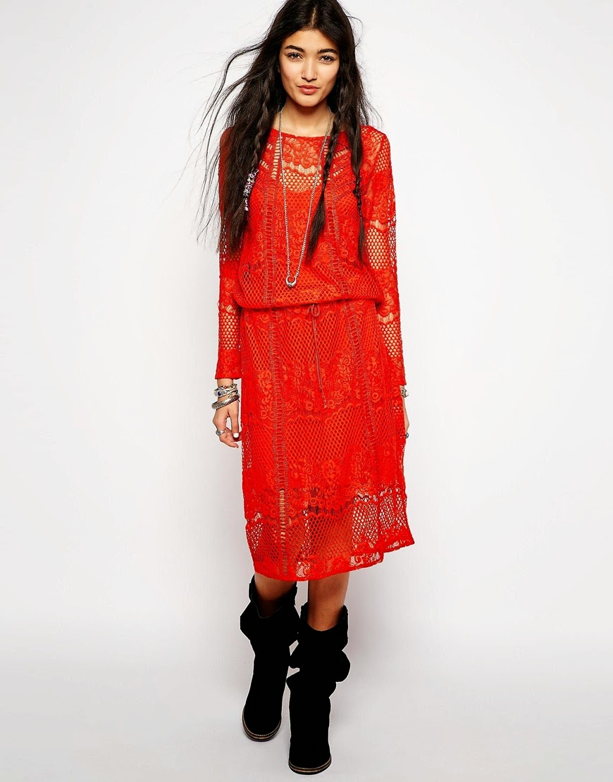 red lace midi dress, free people red dress,
