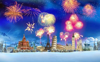 Papel de Parede Festa Ano Novo new year celebration around the world wallpaper