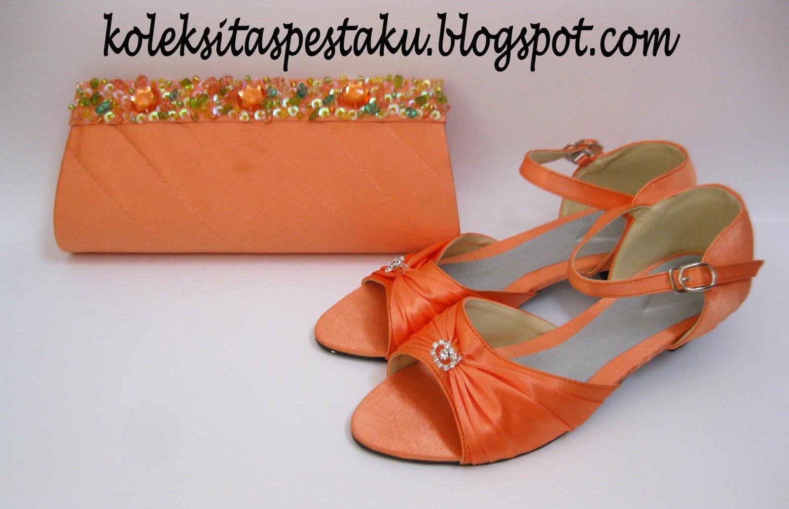 Handmade Tas Pesta dan SLop Pesta atin Warna Orange Mewah