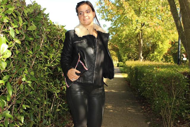 look rock, blouse fluide dentelle naf naf noire, slim enduit noir zara