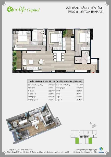 Thiết kế căn 111m Ecolife Capitol