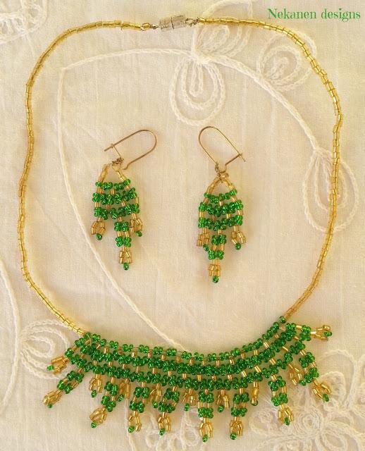 Diseños por el mundo. Egipto. collar y pendientes de Nefertiti.