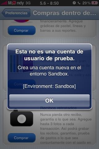 no es una cuenta sandbox valida o que la cuenta no es un