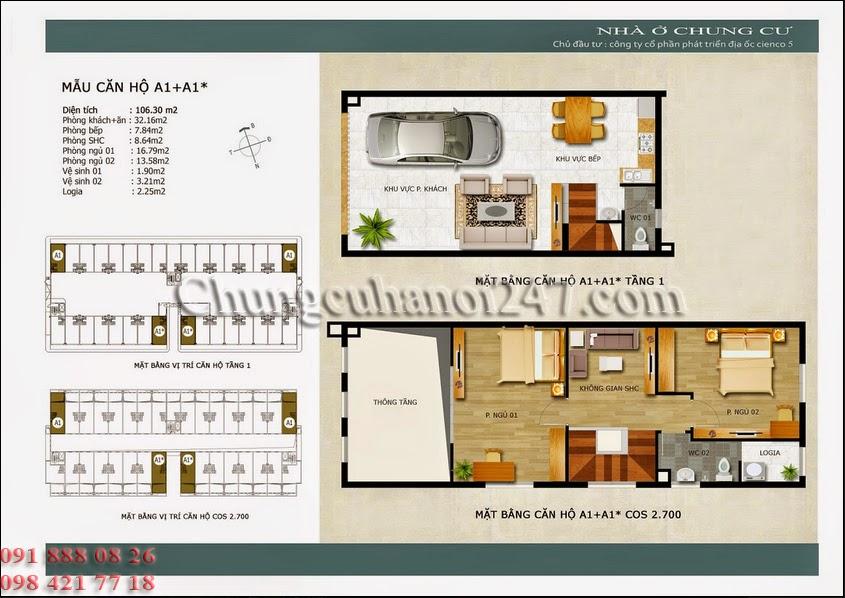 mặt bằng căn hộ a1+a1* chung cư thanh hà cienco 5 hà đông
