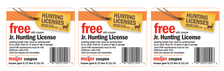Savvy spending meijer free junior deer hunting licenses for Kmart fishing license