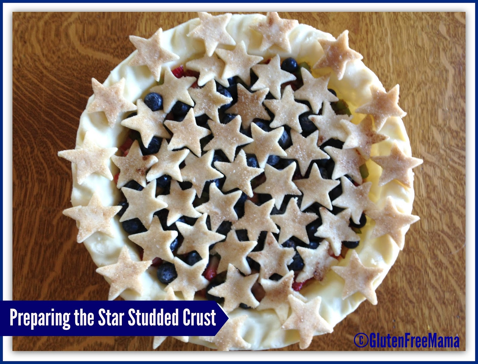 Gluten Free Strawberry Rhubarb Pie with Blueberries and Star-studded Crust