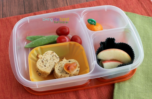 Simple mini harvest pumpkin lunch for a toddler