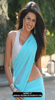 Shradda das in blue low hip saree