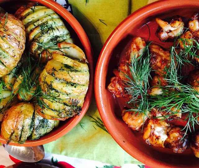 Hasselback potatoes with dill butter and honey and soy shrimp