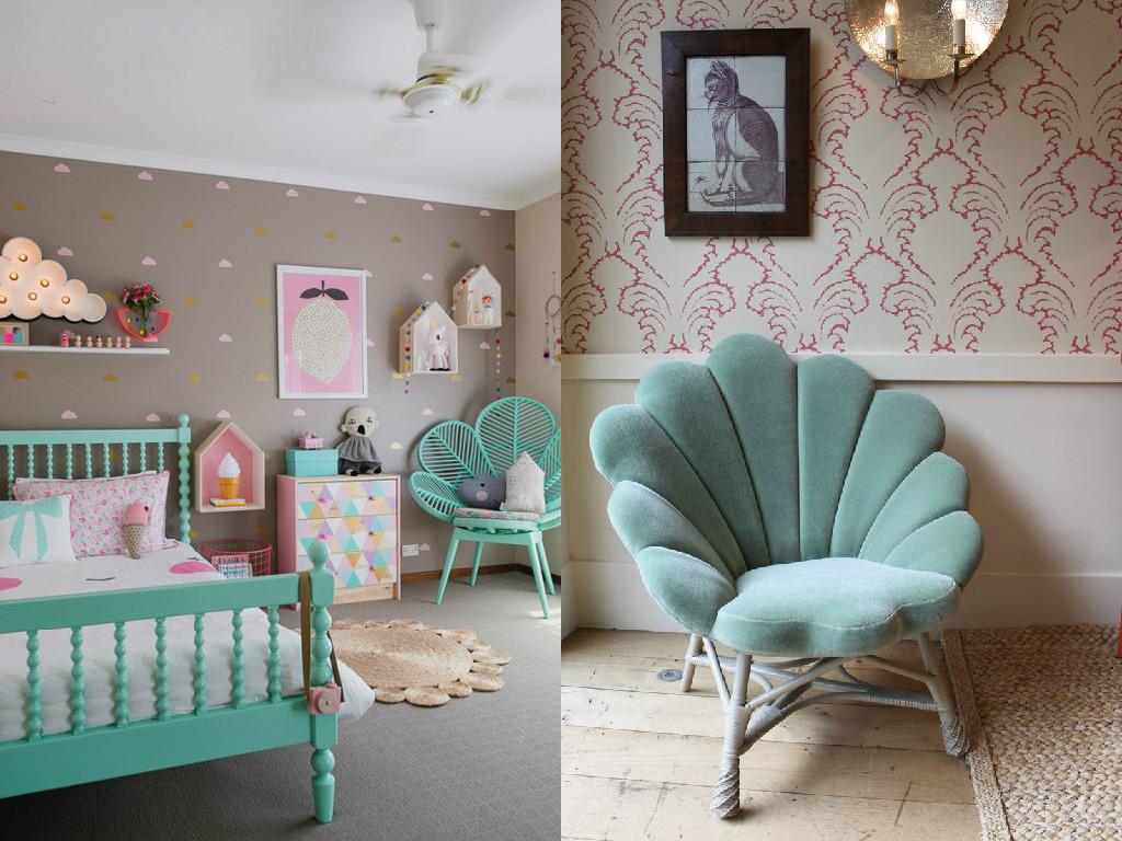 Decora o de quarto verde agua e rosa for Pintura verde agua