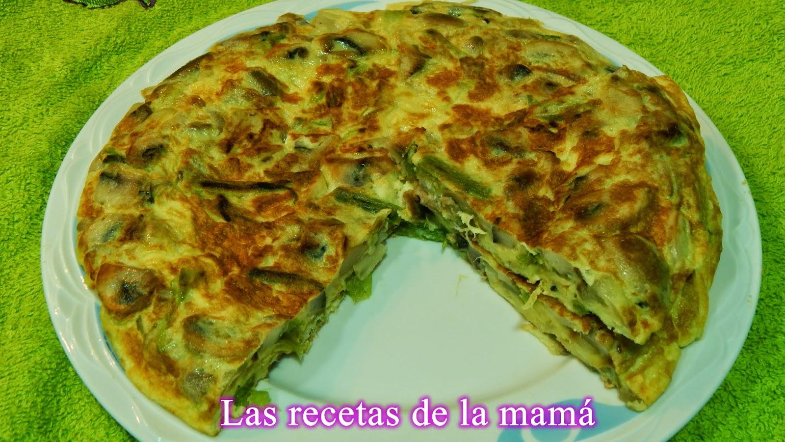 tortilla de champiñones,ajos tiernos y cebolla