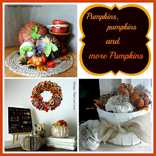 Vintage, Paint and more... pumpkins made from paper, book pages, drop cloth fabric, paper flower wreath for fall