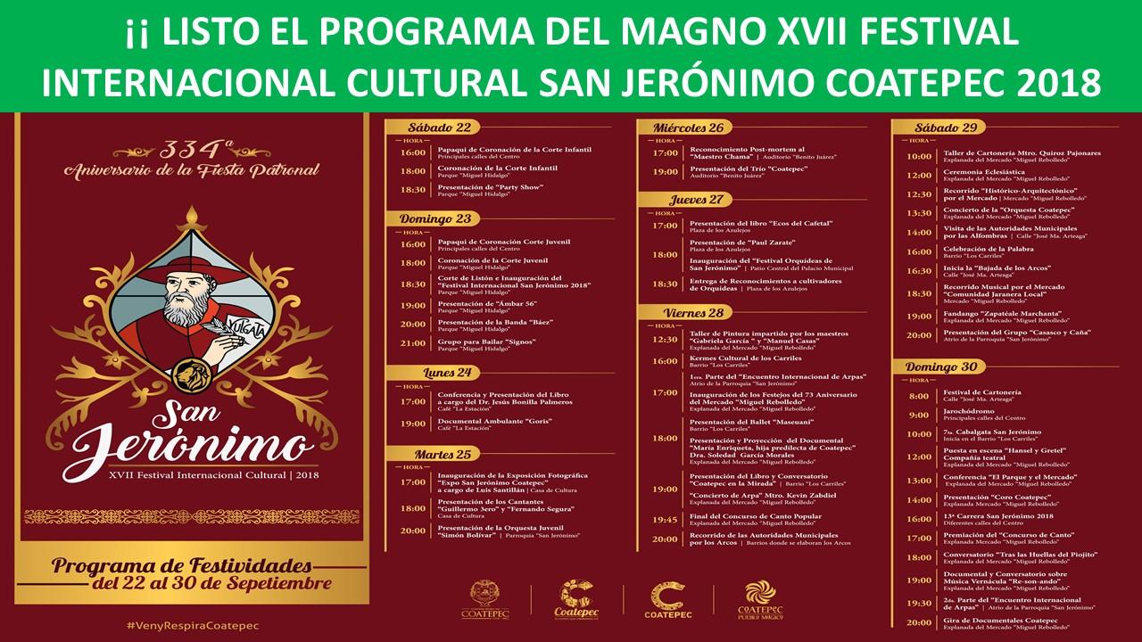 FESTIVAL INTERNACIONAL CULTURAL SAN JERÓNIMO COATEPEC 2018