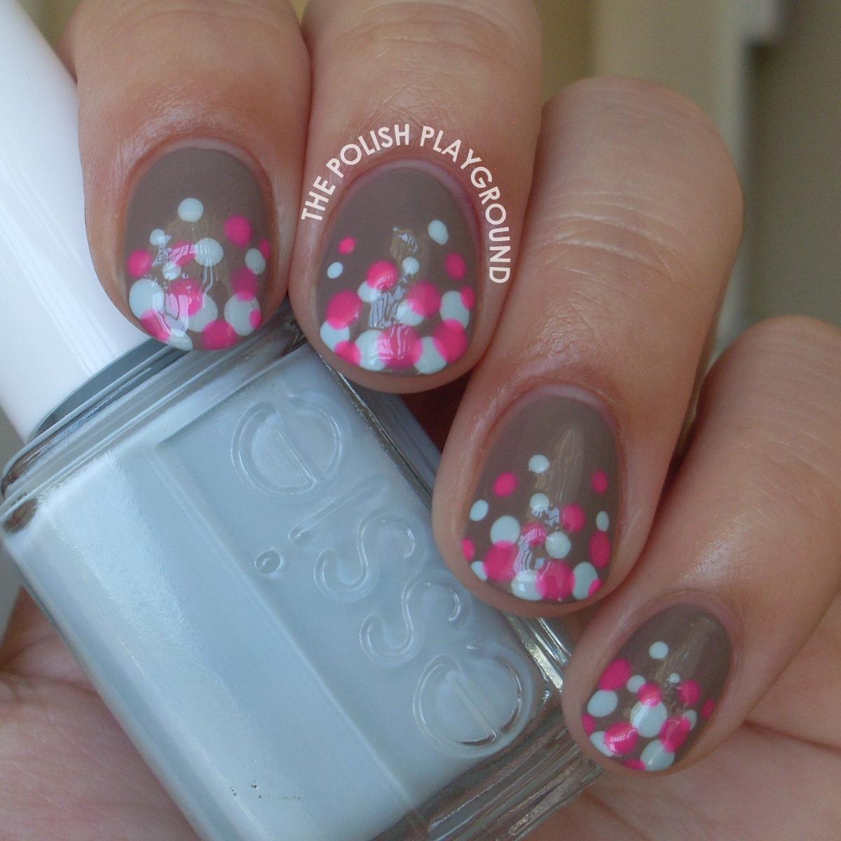 Blue and Pink Polka Dot Gradient Nail Art