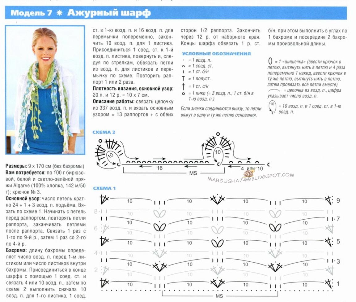 Красивые схемы вязания крючком шарфов