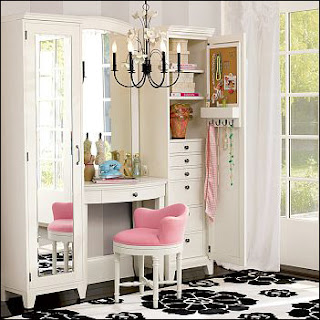 three mirror Makeup Vanity