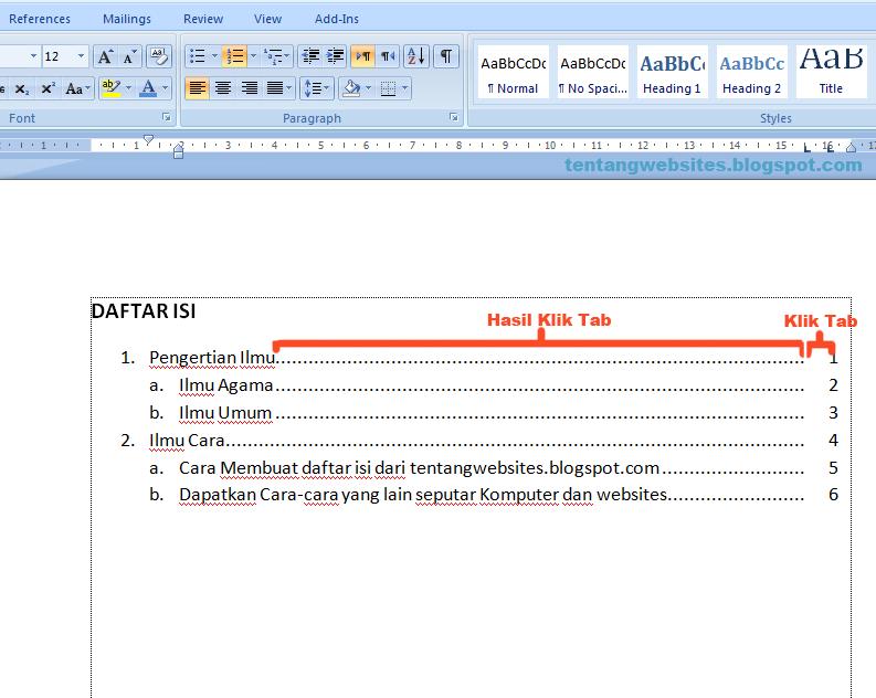 Cara membuat daftar isi yang rapi pada Ms word