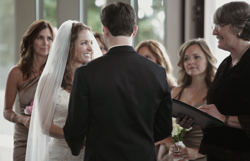Joanne stands with four sisters on her wedding day - Patricia Stimac, Seattle Wedding Officiant