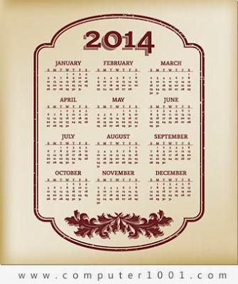Download kalender 2014 dengan border klasik