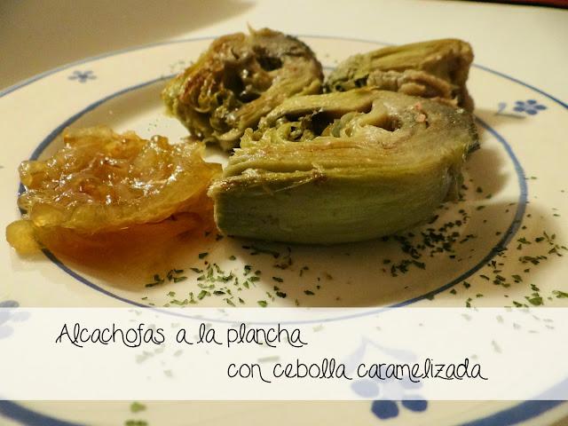 Alcachofas a la plancha con cebolla caramelizada