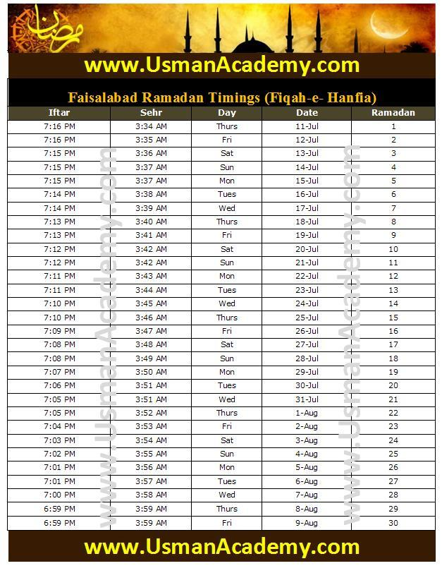 ... Timings 2016 Calendar Faisalabad Ramazan Seher-o-Iftar Time Table 2016