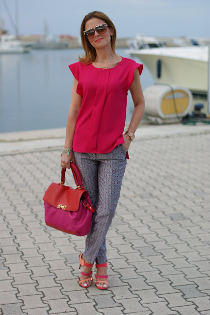 Zara fuchsia top, Asos geo print trousers, Cesare Paciotti sandals, Fashion and Cookies