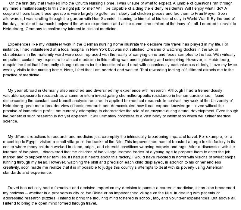 Media personal statement