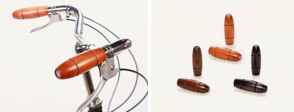 Complementos en madera para bicicleta urbana: Puños de madera artesanales, marrón, miel o negro.