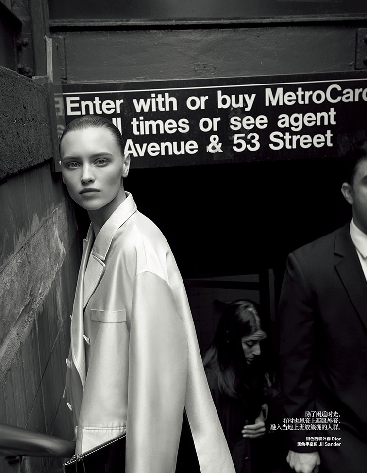 Mila Krasnoiarova photographed by Jonas Bresnan Styled by Katie Burnett for Harpers Bazaar China July 2014, nyc subway