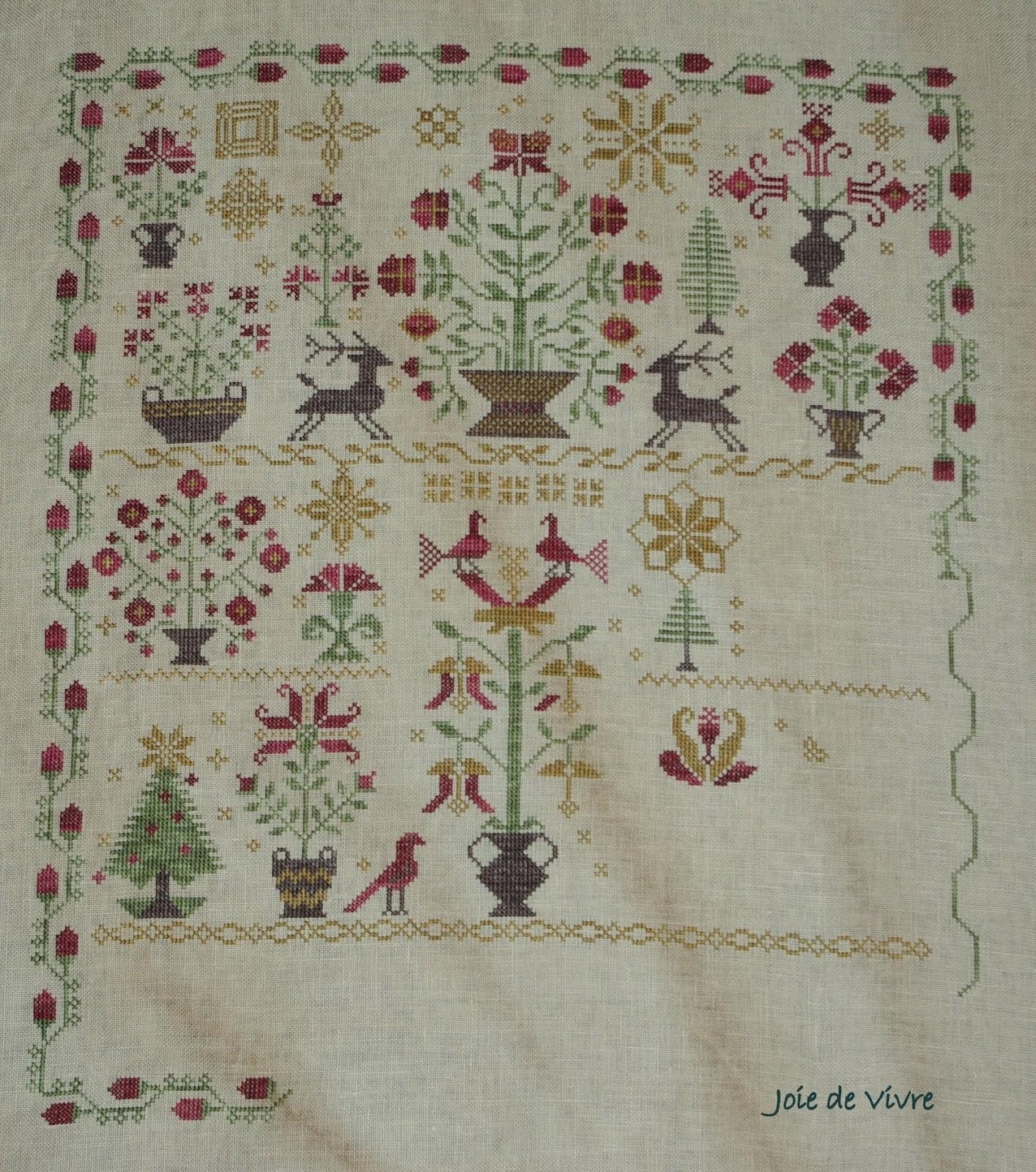 Joie de vivre olympic stitching recap for Christmas garden blackbird designs