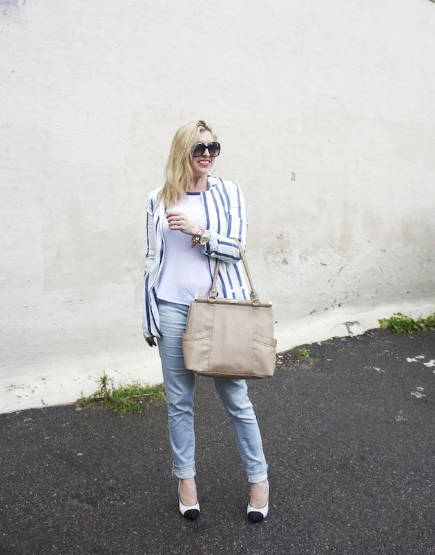 Tractr jeans, Olivia & Joy handbag, Zara stripe jacket