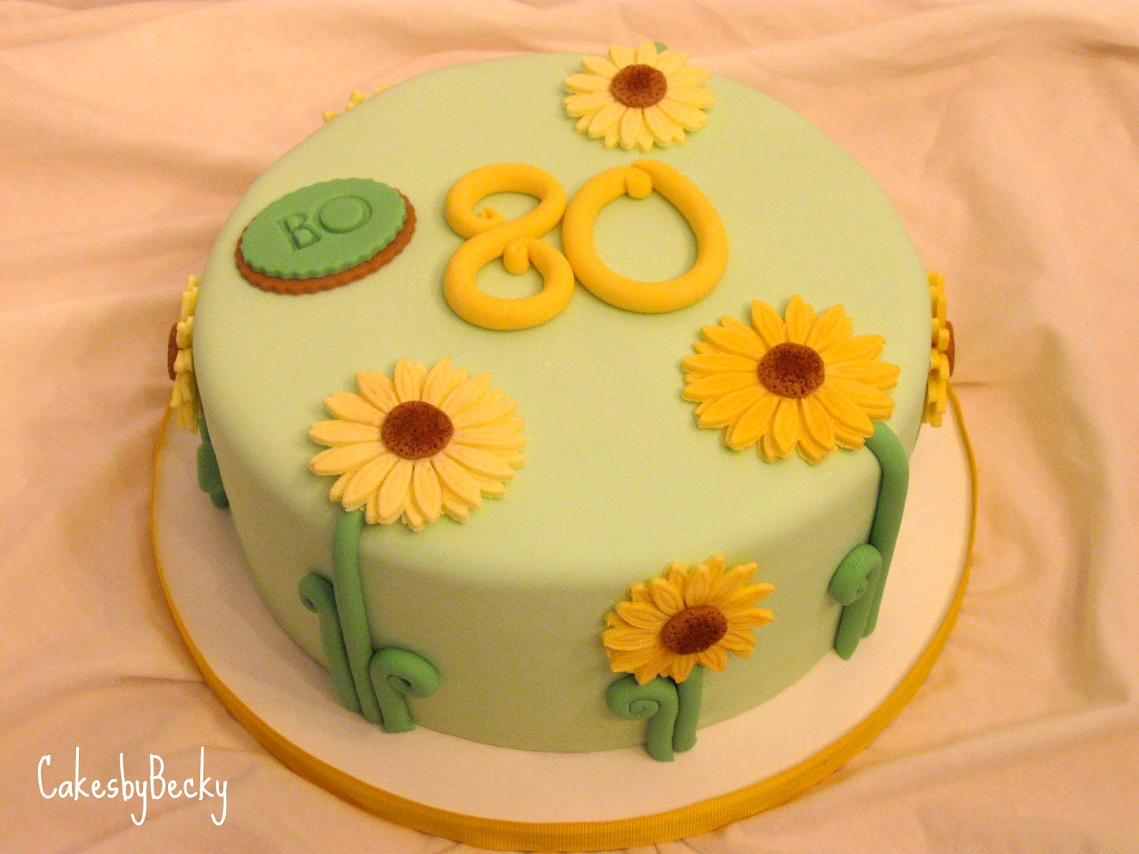Cakes by Becky: Yellow Flower 80th Birthday Cake