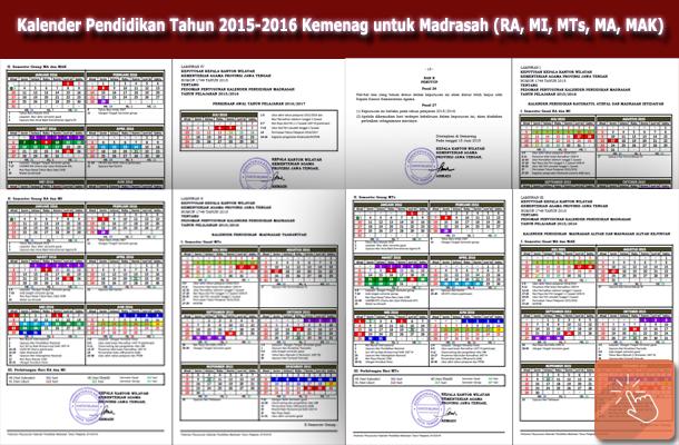 Kalender Pendidikan Tahun 2015-2016 Kemenag untuk Madrasah (RA, MI, MTs, MA, MAK)