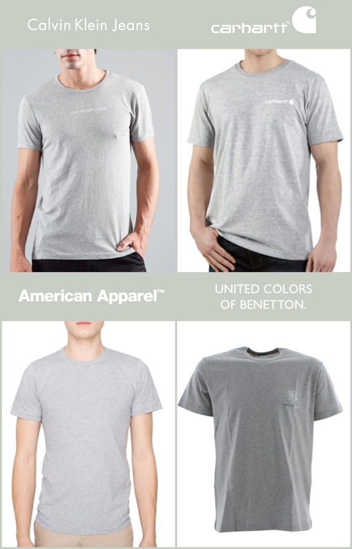 GREY T-SHIRT - CALVIN KLEIN JEANS  / CARHARTT / AMERICAN APPAREL / UNITED COLORS OF BENETTON