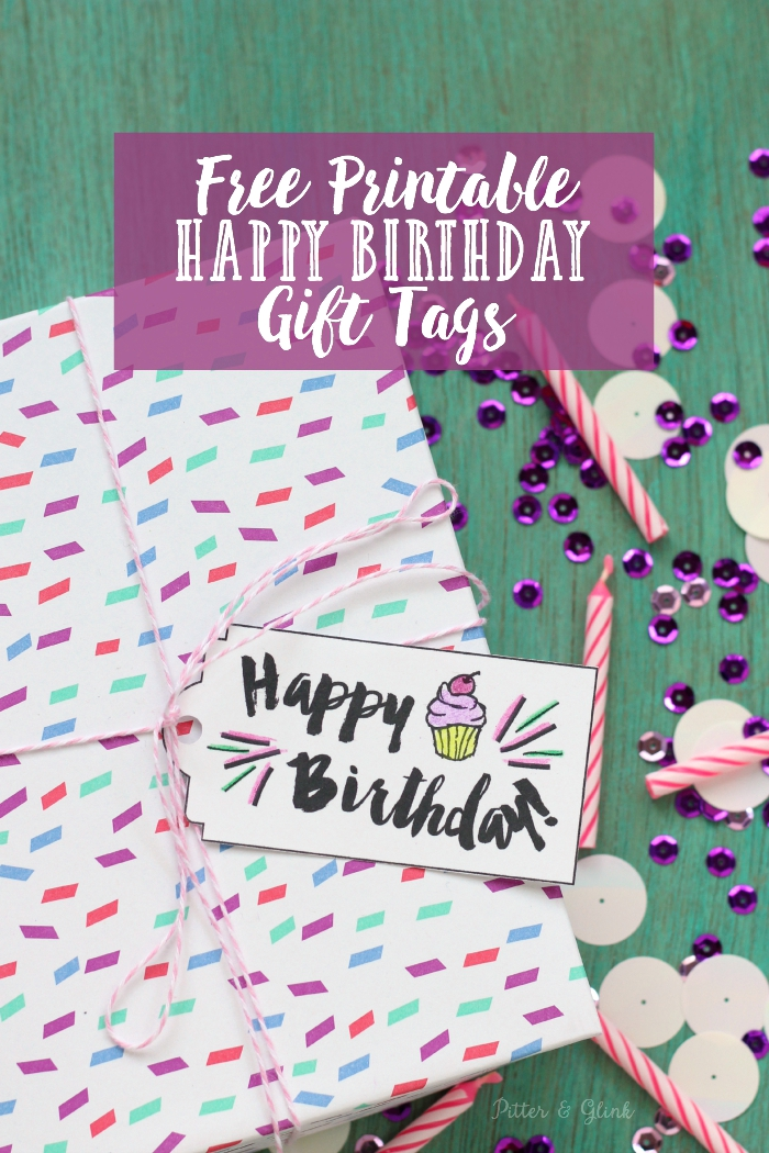 Pitterandglink Free Printable Happy Birthday Gift Tags