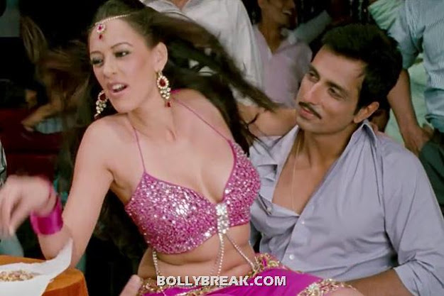 Hazel Keech Hot navel sitting in lap of sonu sood - (9) - Hazel Keech Hot Pics - Maximum Movie Item Song
