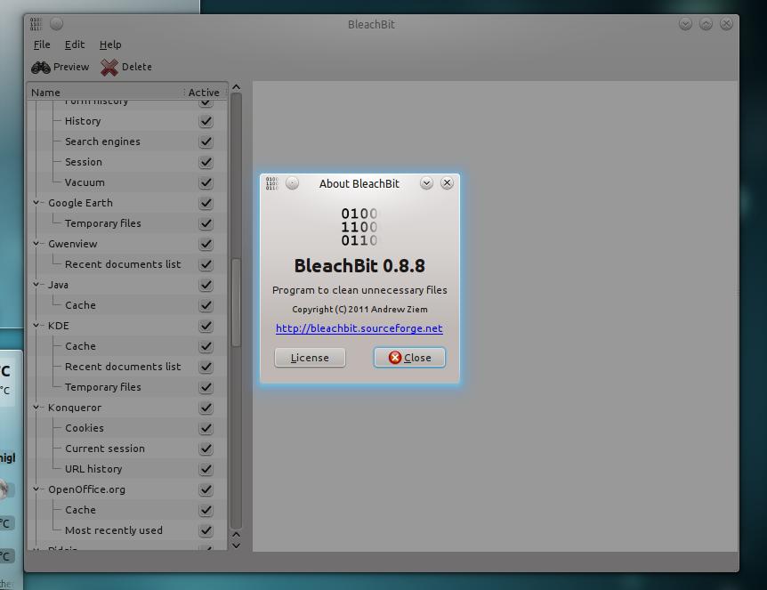 BleachBit 0.8.8 di Ubuntu 11.04 Natty Narwhal