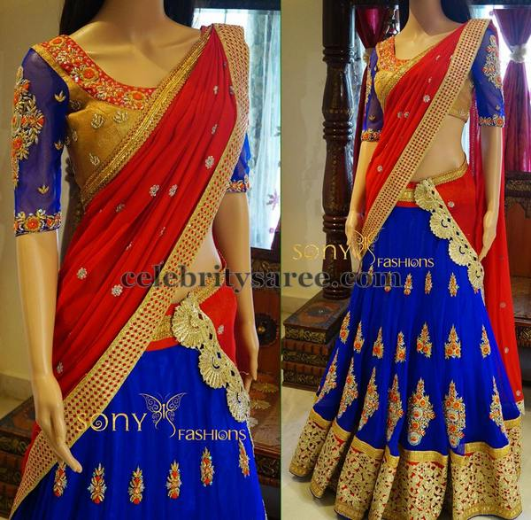 Blue And Red Grand Half Saree Saree Blouse Patterns