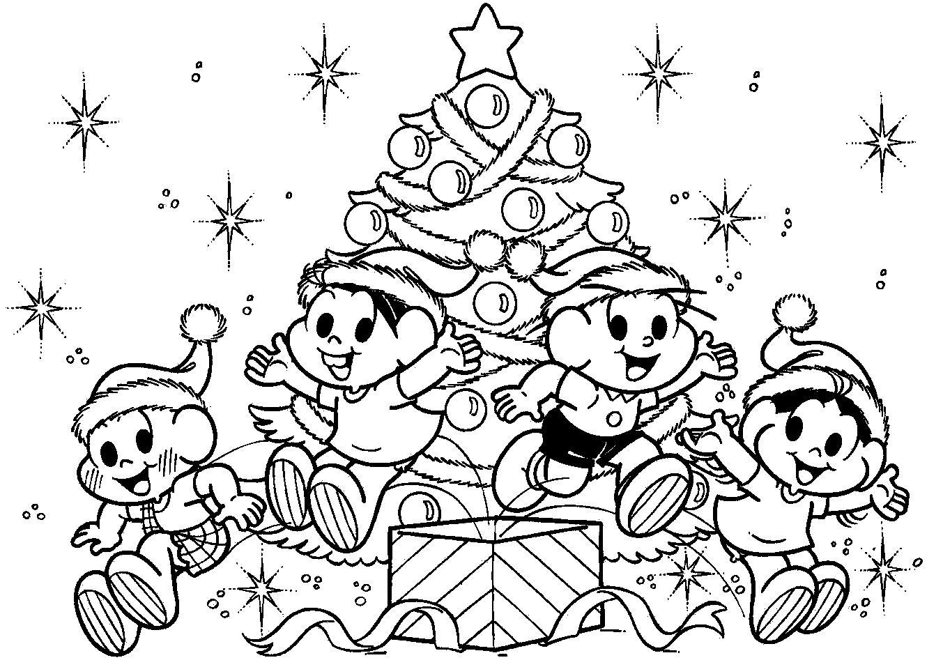 Desenhos Para Colorir o natal da turma da monica