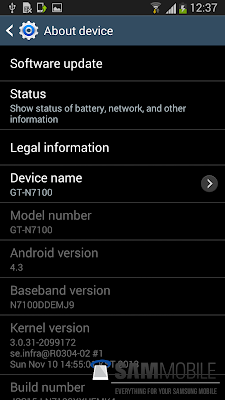 Galaxy Note 2 Android 4.3 update is close ? New firmware leaked