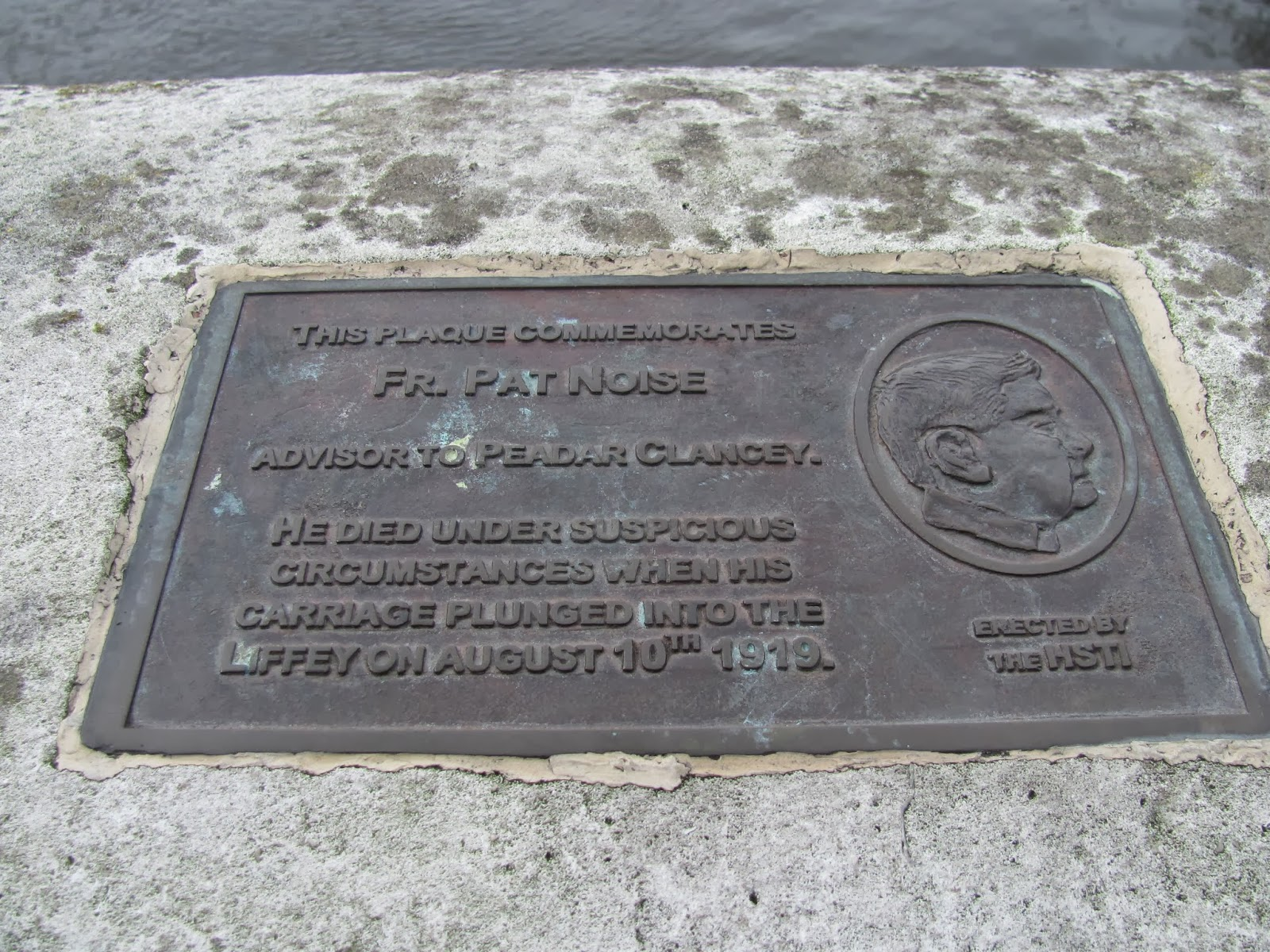 Plaque on O'Connell Bridge to Father Pat Noise Dublin
