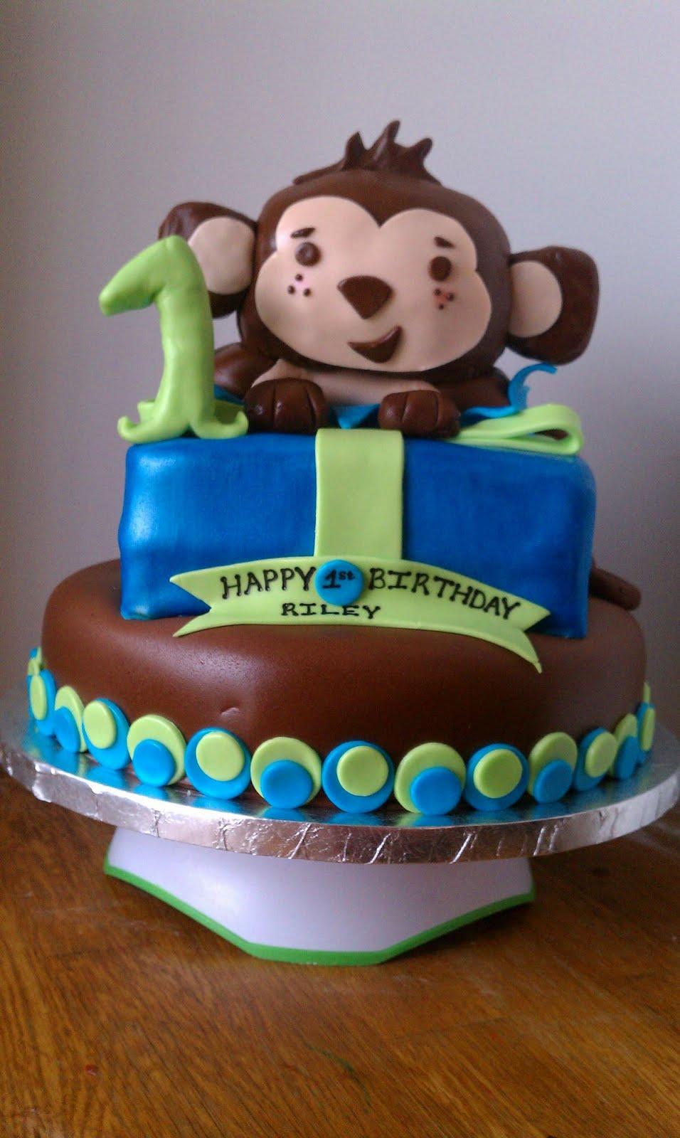 Cake Images For 1st Birthday Boy : Angel Wing Cakes: Monkey Boy 1st Birthday!!