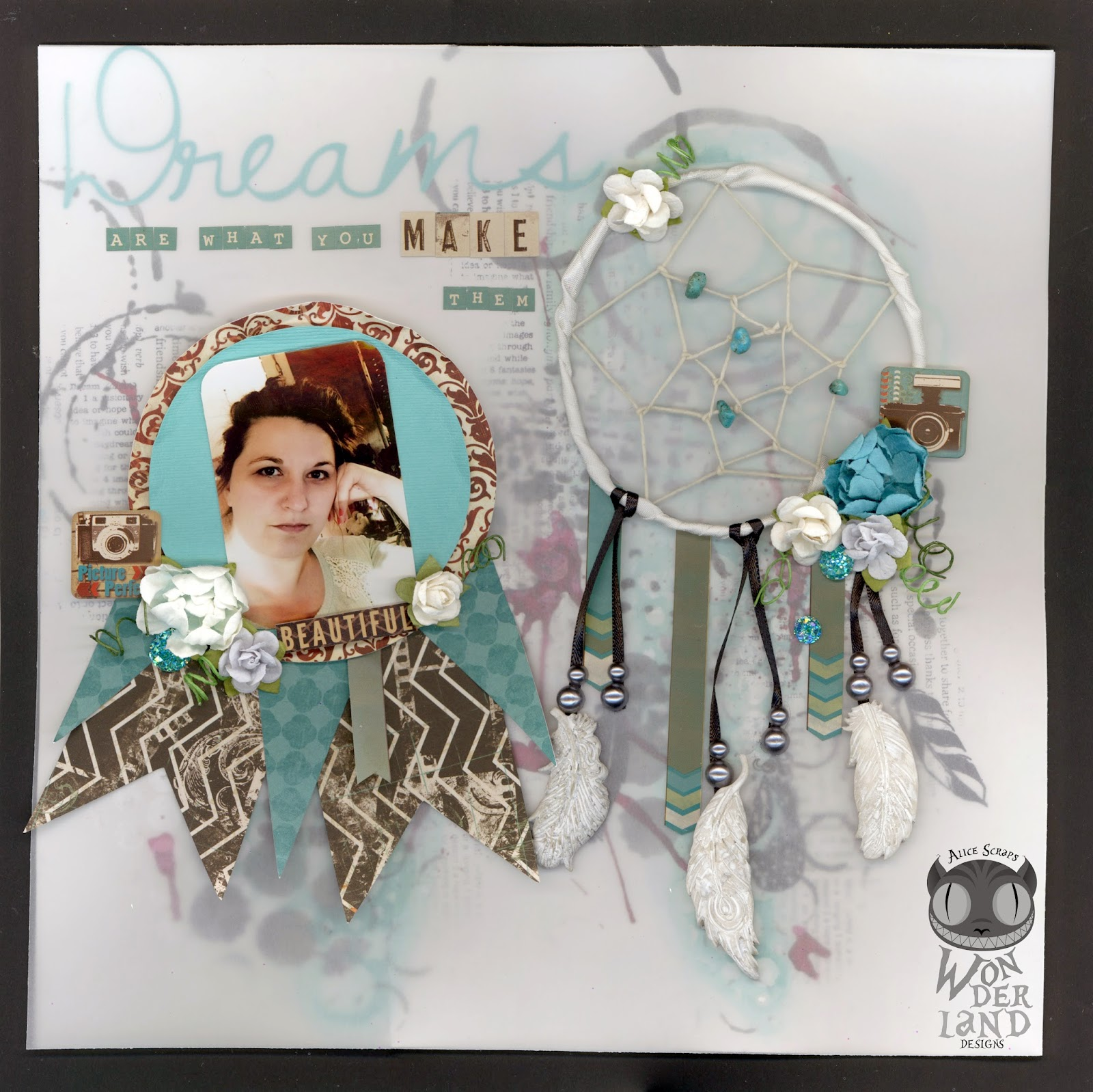 scrapbooking, scrapbook page, layout, handmade, banner, pennant, dreamcatcher, feathers, cameras, Bo Bunny, Prima, mixed media, dreams
